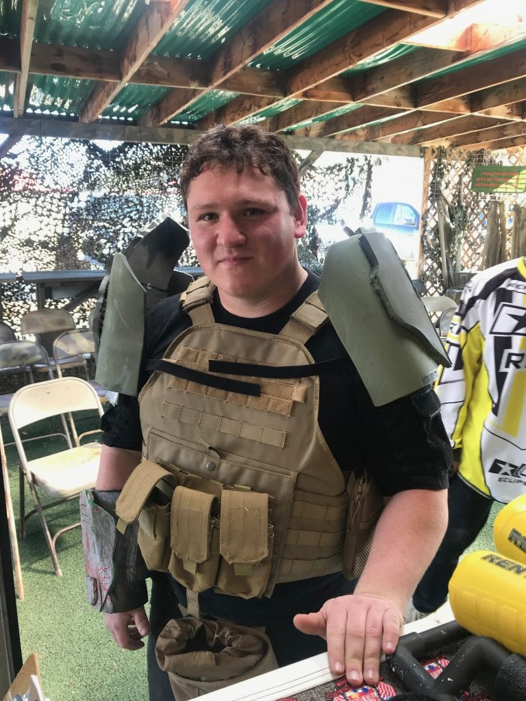 Photo of Airsoft player wearing armor