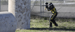 Photo of paintball player aiming