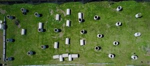 Photo of aerial shot of concrete Pipes course