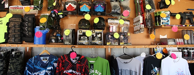 Photo of merchandise for sale at Gladiator Paintball Park Pro Shop