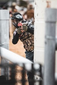 Photo of paintball player with smoking gun